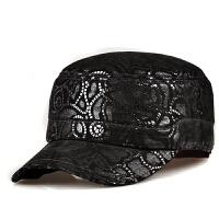 鸭舌帽平顶军帽女士秋冬棒球帽真皮帽子