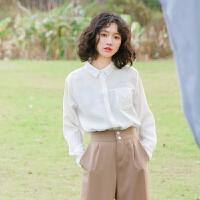 衬衣白2018夏季新款上衣韩版防晒衬衫女长袖宽松显瘦百搭学生衬衫