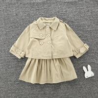 春装女童风衣两件套宝宝短款双排扣风衣背无袖心裙套装韩版潮款