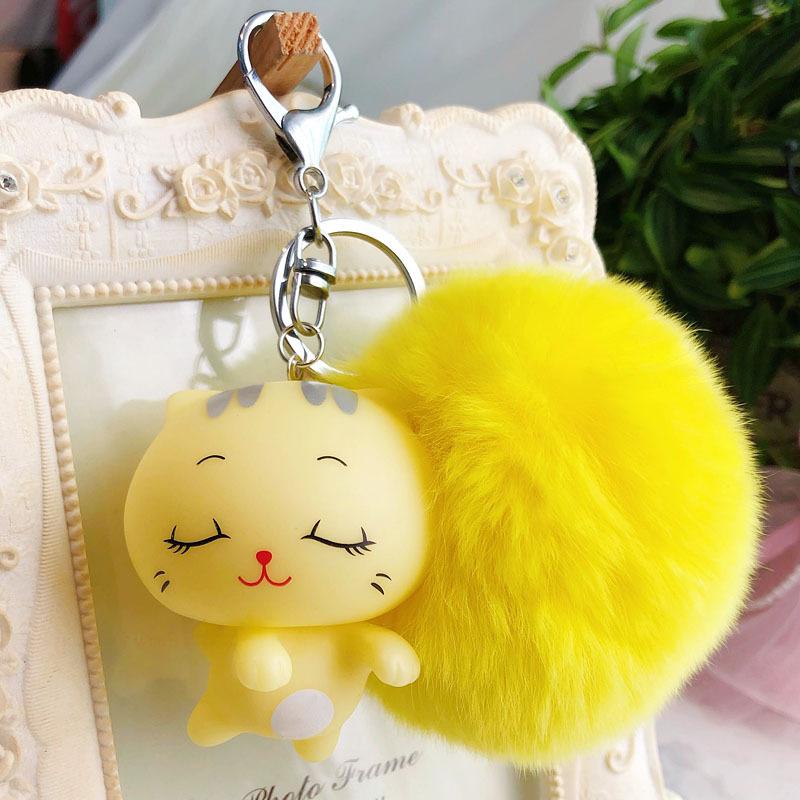 卡通可爱大脸猫钥匙扣男女包包钥匙链圈毛球配饰娃娃机公仔挂件  OPP袋包装 一般3-5天到货,偏远地区7天以上!