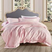 家纺欧美三层纱美棉四件套纯棉床上用品秋冬加厚唯美粉色 粉玉