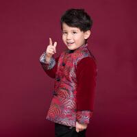 冬装加厚棉衣新年中国风儿童唐装 中式真丝男童宝宝喜庆棉袄外套