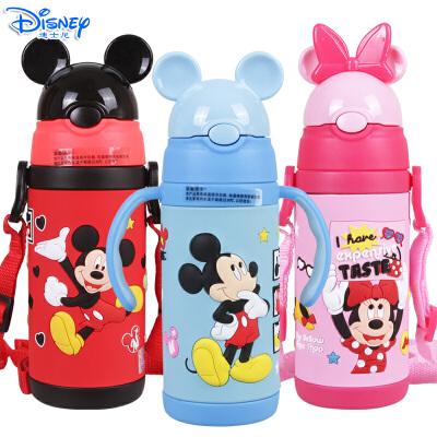 迪士尼米奇米妮儿童380ML可互换手柄背带两用不锈钢保温吸管杯