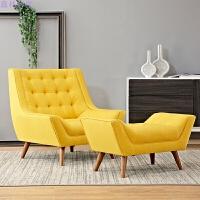 单人沙发美式老虎椅单椅布艺阳台躺椅休闲椅子复古休闲皮椅