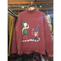 B1冬半高领套头毛衣 女卡通印花韩版长袖百搭打底针织衫0.5