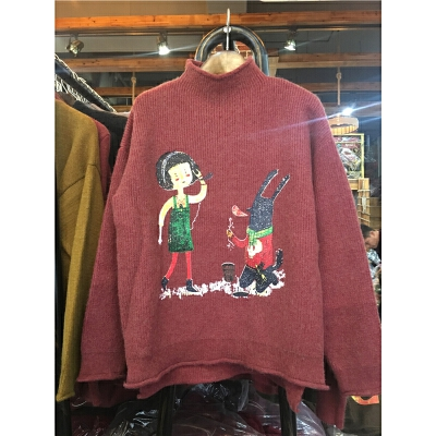 B1冬半高领套头毛衣 女卡通印花韩版长袖百搭打底针织衫0.5 发货周期:一般在付款后2-90天左右发货,具体发货时间请以与客服协商的时间为准