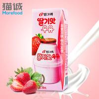 【韩国进口】Binggrae宾格瑞草莓味牛奶饮料200ml*6 奶饮品草莓牛奶 营养早餐牛奶