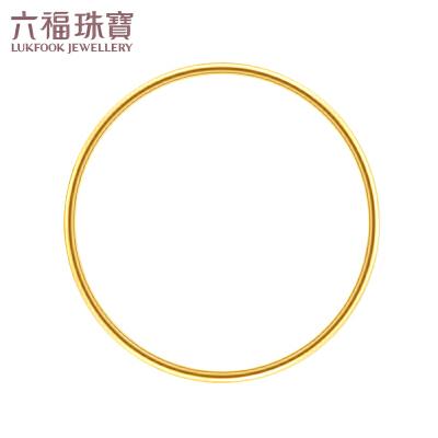 六福珠宝足金手镯简约光面黄金细镯子女手环 B01TBGB0042 简约光面