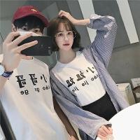 情侣装夏季bf风文字印花短袖白t恤韩版潮流宽松学生上衣