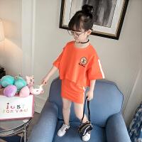 女童运动套装2童装女儿童夏季短袖T恤洋气两件套