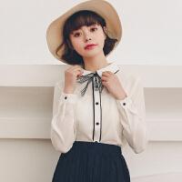 蝴蝶结长袖衬衣女2018新款韩版气质女装翻领百搭休闲防晒衬衫修身