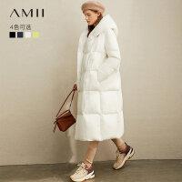 【到手价:680元】Amii极简90白鸭绒羽绒服2019冬季新款宽松连帽斜扣保暖长款面包服
