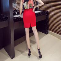 短裙女秋季新款韩版职业裙子高腰一步裙包臀裙开叉蕾丝半身裙