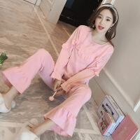 秋季韩版女士睡衣长袖纯棉套装可爱甜美公主风少女家居服可外穿