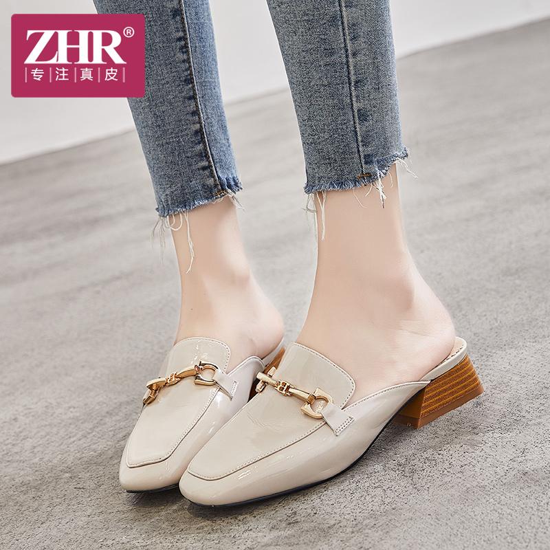 ZHR凉拖鞋女韩版复古包头粗跟鞋个性chic套脚中跟鞋2018夏新品
