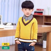 衣童装假两件针织线衫秋冬儿童男童棉质 中大童套头加绒厚款毛