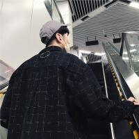 港风春季新款休闲男士长袖衬衫韩版铁环装饰格子复古宽松衬衣潮流