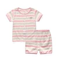 舒棉色织条纹 儿童短袖家居服夏季薄款 宝宝夏装 婴儿睡衣