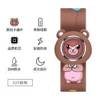 宝宝儿童手表幼儿时尚简约小女孩防水可爱卡通小熊指针式硅胶带拍拍表