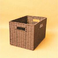 茶几编织筐收纳盒大号储物箱无盖编制篮衣柜整理箱衣物玩具草编筐