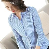 2018春季新款职业OL上衣女士衬衫夏季蓝白色竖条V领衬衣女装长袖 篮白 S