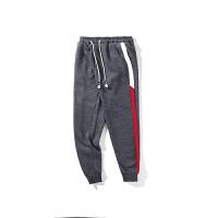 韩版秋冬新款条纹休闲裤青年男士加绒束脚运动小脚裤