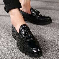 增高韩版加棉男鞋青年布洛克流苏休闲厚底皮鞋英伦尖头发型师潮鞋