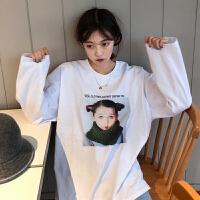 春秋女装韩版原宿风人像印花宽松百搭长袖套头T恤上衣打底衫学生