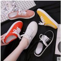 帆布鞋女学生韩版百搭新款一脚蹬平底无后跟包头懒人半拖鞋