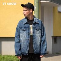 VIISHOW2017秋装新品做旧牛仔夹克男刺绣标签装饰男士外套上衣潮