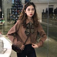 秋冬女装2017新款韩版气质翻领丝带领结长袖衬衫上衣打底衫学生潮