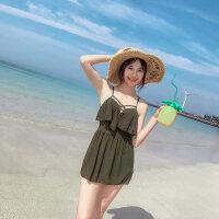 新款泳衣女连体裙式保守遮肚修身显胸收腰学生平角姜黄色女士泳衣