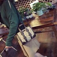 七夕礼物新款包包女手提包时尚波士顿包帆布包单肩斜挎包圆桶包大包 棕色小号 可调节款手提