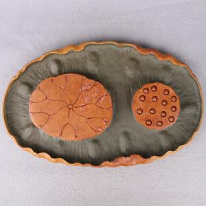 中国非物质文化遗产传承人群 钟景锐作品《荷塘雅趣》茶盘