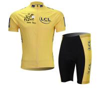 XINTOWN黄骑行服短袖情侣套装自行车服夏季吸湿排汗速干衣