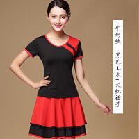 广场舞服装 套装短袖夏季 舞蹈服女裙子运动跳舞 黑色 双层裙摆套装 2X