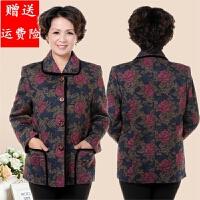 春秋中老年人女装外套婆婆妈妈装印花薄外套50-60-70岁奶奶装上衣