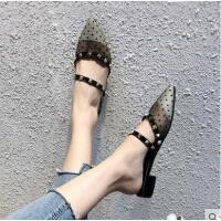 拖鞋女新款韩版学生尖头网纱波点一字凉拖粗跟罗马鞋潮