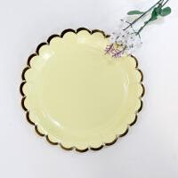生日装饰布置生日派对用品儿童周岁餐桌布置甜品台装饰黄色一次性餐具套餐