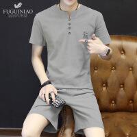男士短袖t恤V领纯棉潮流套装夏季土夏天韩版体恤短裤两件套