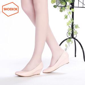 达芙妮旗下shoebox/鞋柜春新款甜美尖头中跟单鞋休闲坡跟女鞋
