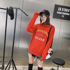 连帽针织衫女套头宽松韩版春装2018新款女外穿印花毛衣卫衣女学生