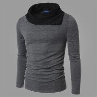 男装潮斜领针织打底衫毛衣男士修身长袖毛线衣T恤