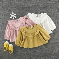春装韩版0-4岁女童荷叶边娃娃衫纯棉宽松圆领衬衫宝宝打底上衣t恤