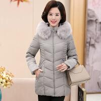 中老年女装棉衣冬装新款潮女士棉袄妈妈装加厚羽绒外套装 L 85-100斤
