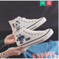 高帮帆布鞋女平底新款韩版休闲ulzzang小白鞋学院欧洲站