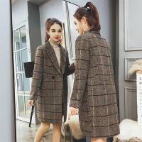 呢子大衣女格子中长款韩版2018新款春装复古时尚加厚宽松毛呢外套