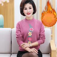 毛衣女新品气质妈妈装秋冬上衣40岁50中老年女装短款加绒加厚打底衫保暖毛衣