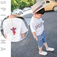 儿童运动休闲套装男童短T短裤牛仔裤T恤两件套