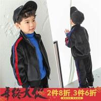 男童冬装套装秋冬2017新款韩版儿童两件套银狐绒休闲运动外套加厚
